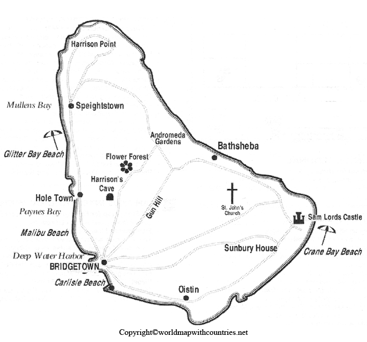 Blank Map of Barbados
