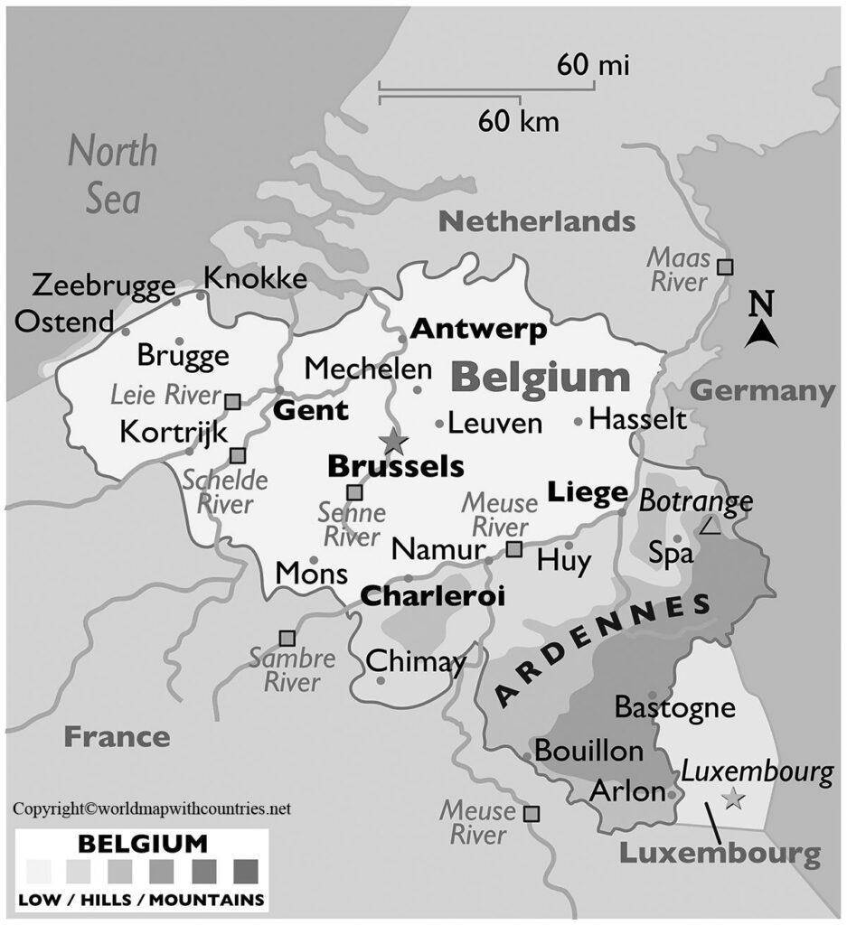 Blank Map Of Belgium