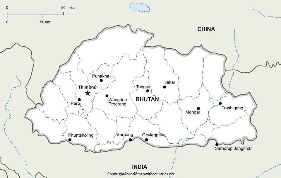 Blank Map of Bhutan