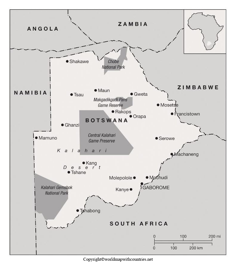 Blank Map of Botswana