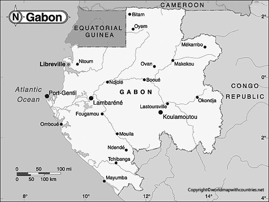 Blank Map of Gabon