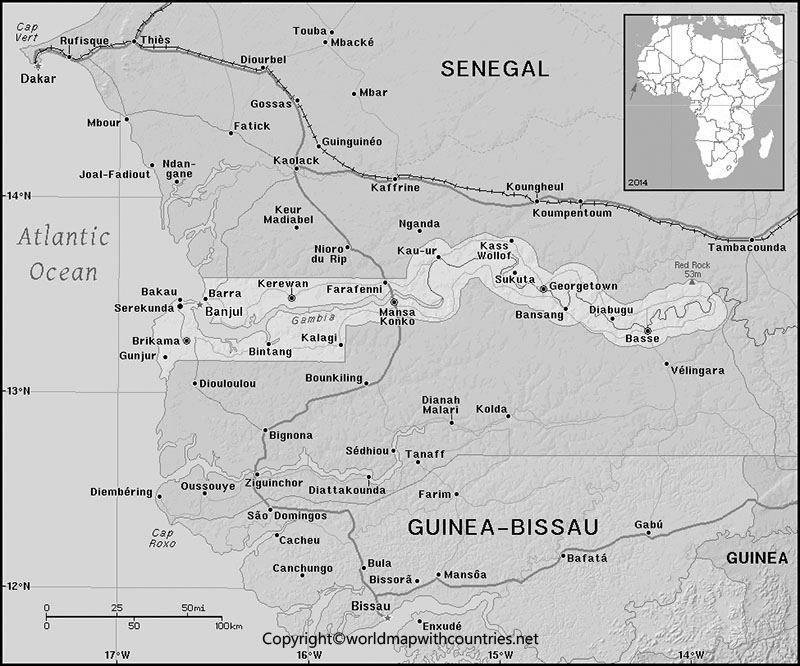 Blank Map of Gambia
