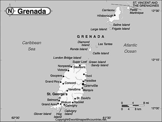 Blank Map of Grenada