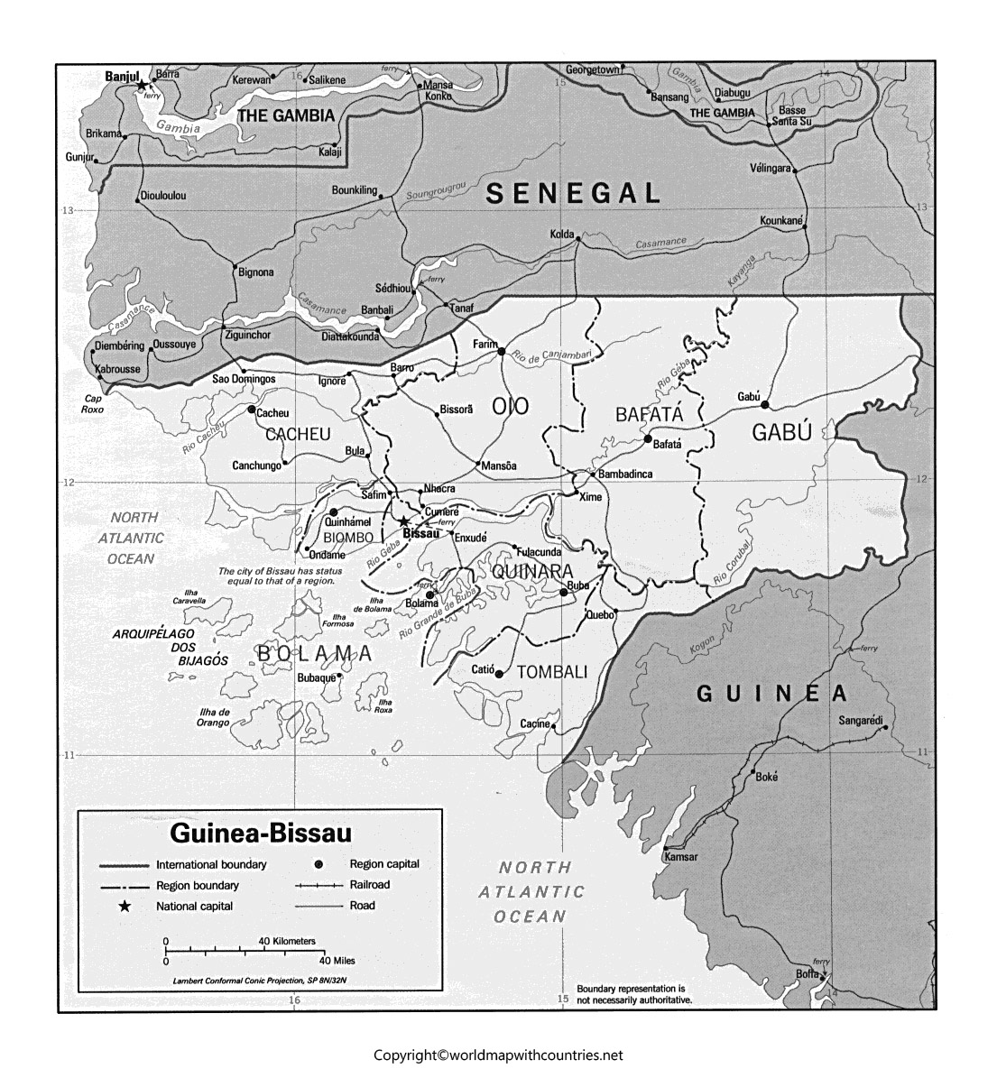 Blank Map of Guinea-Bissau