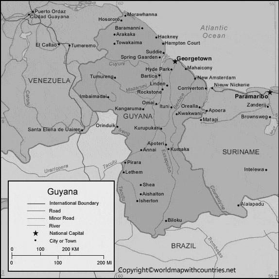 Blank Map of Guyana