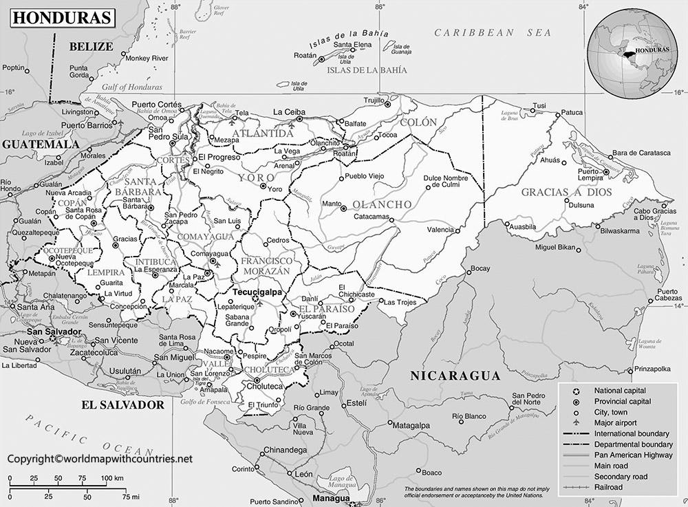 Blank Map of Honduras