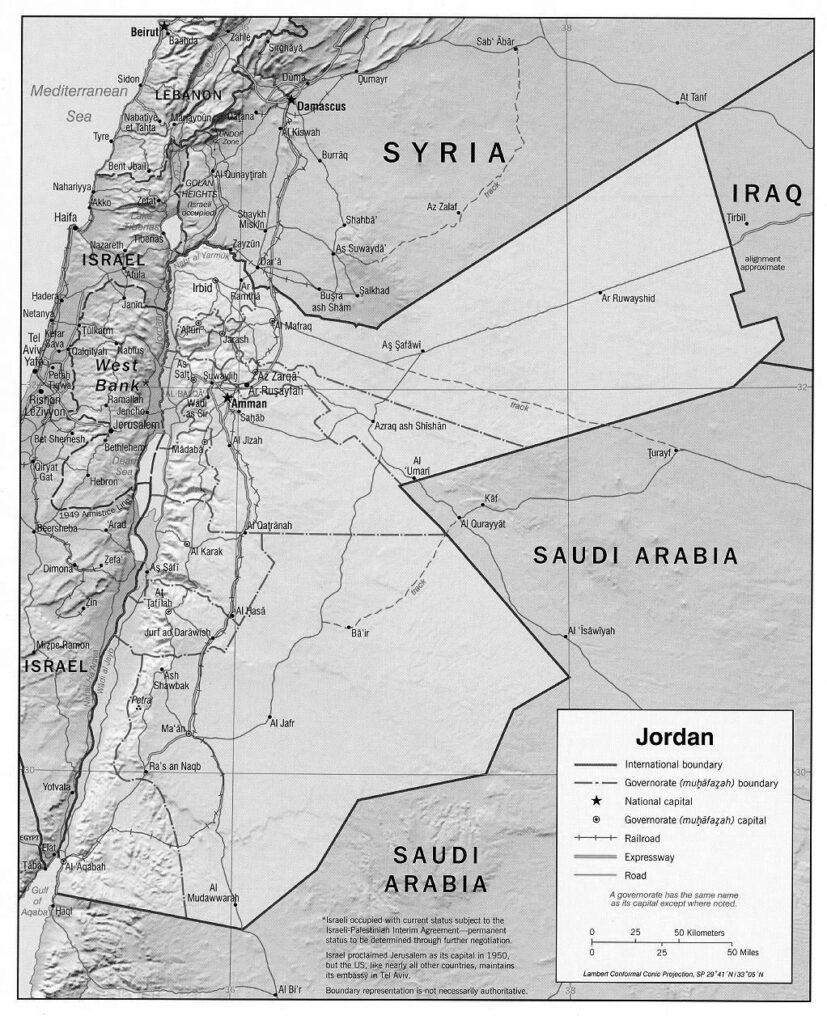 Blank Map of Jordan