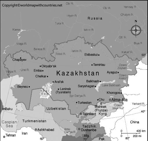 Blank Map of Kazakhstan