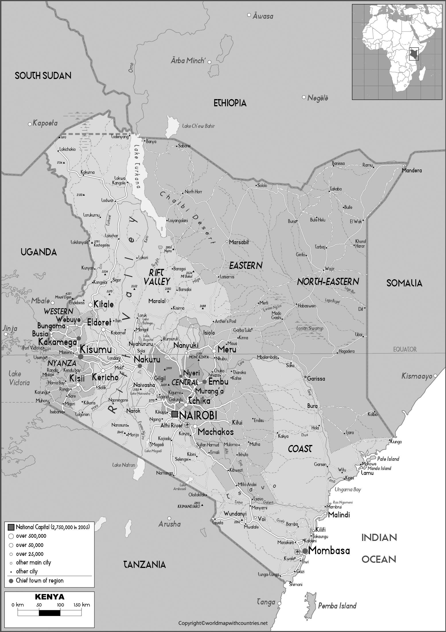 Blank Map of Kenya