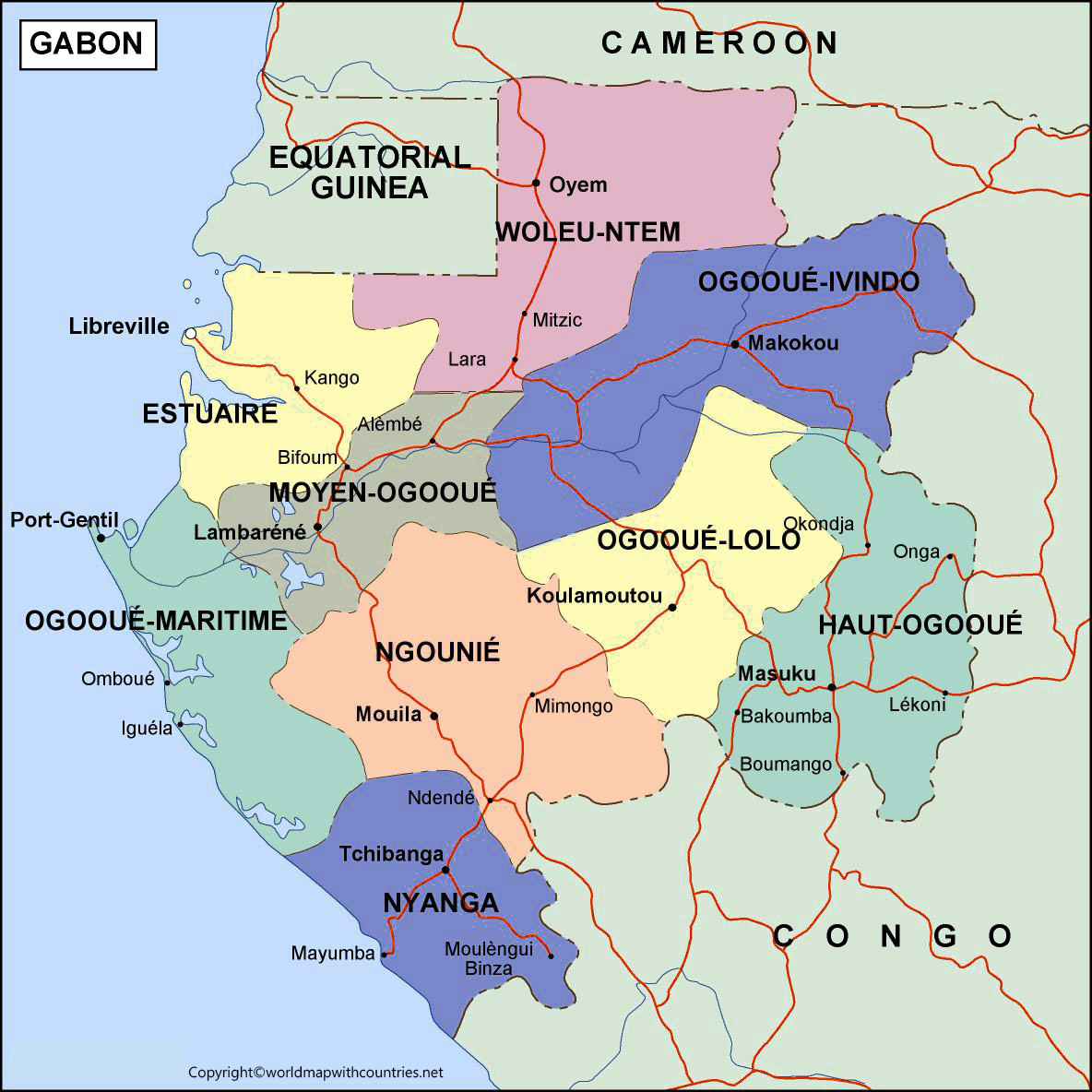 Gabon Map with States