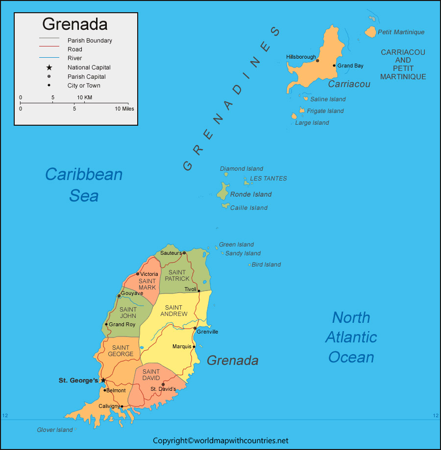 Grenada Map with States