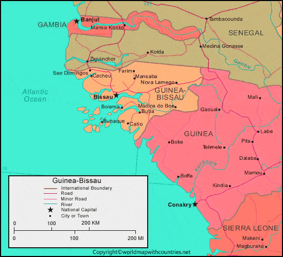 Guinea Bissau Map with States