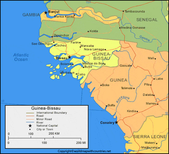 Guinea Map with States