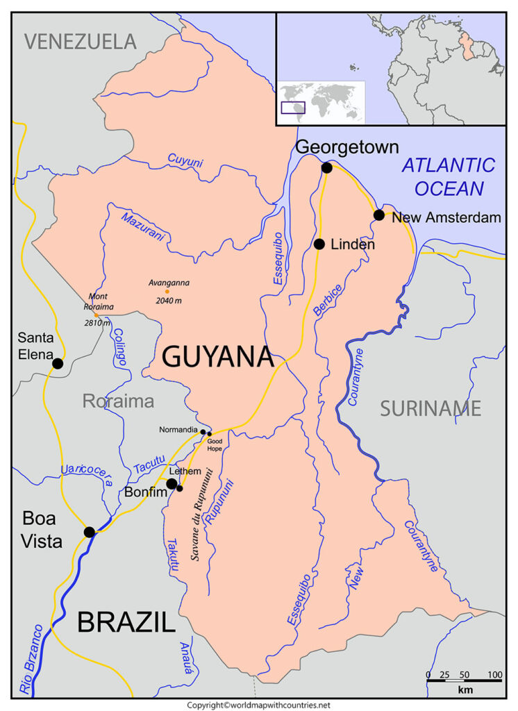 Guyana Map with States