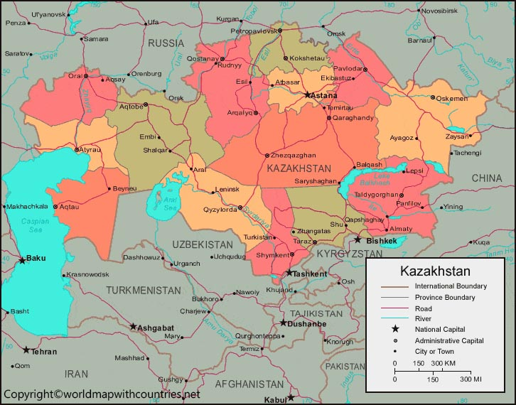 Kazakhstan Map with States