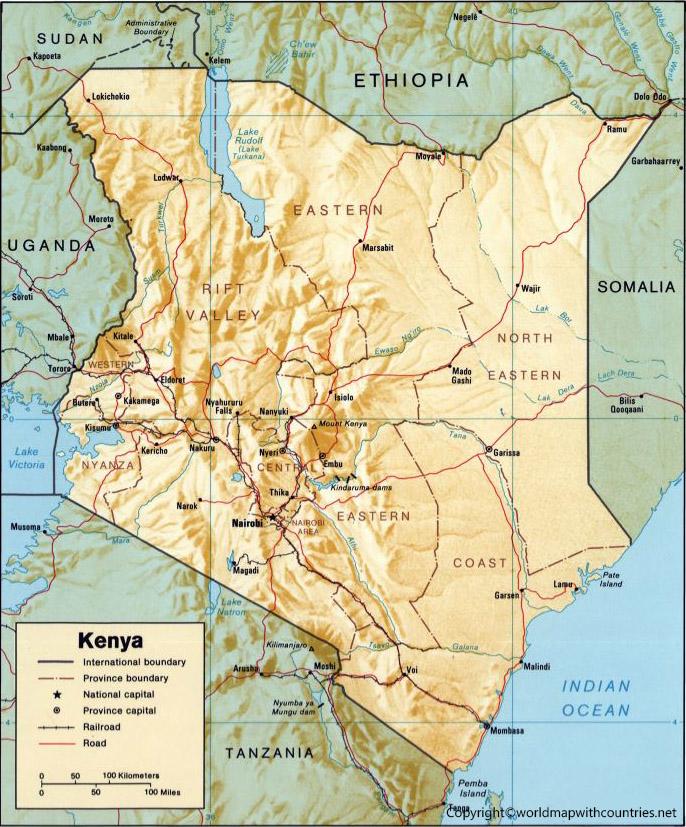 Kenya Map with States