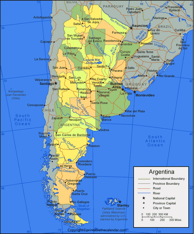 Labeled Map of Argentina