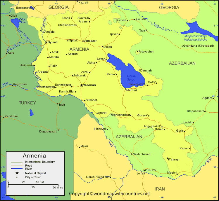 Labeled Map of Armenia