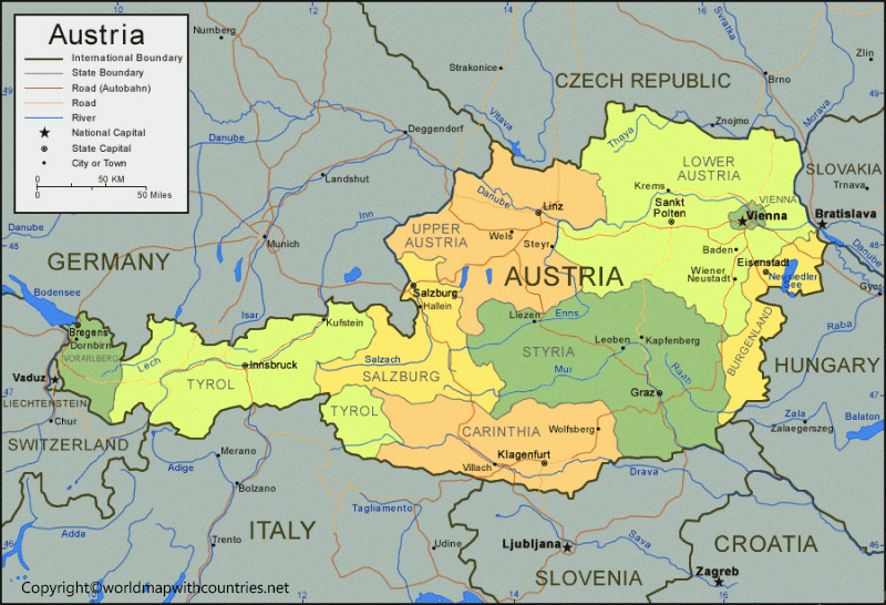 Labeled Map of Austria