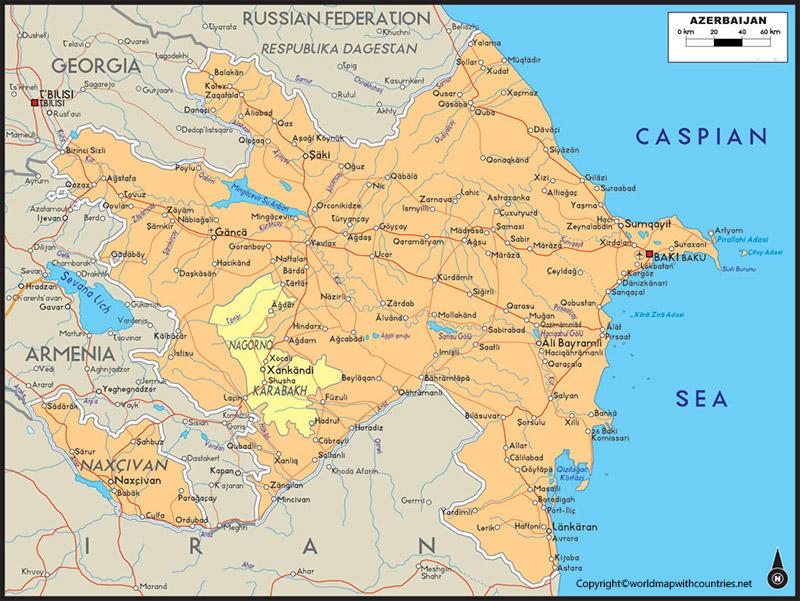 Labeled Map of Azerbaijan