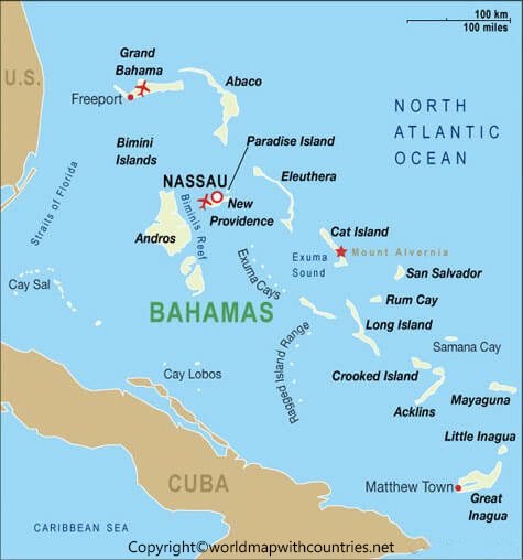 Labeled Map of Bahamas