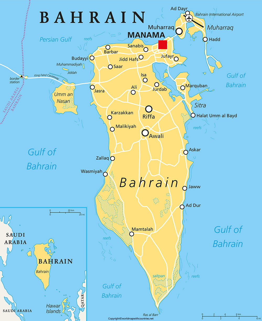 Labeled Map of Bahrain
