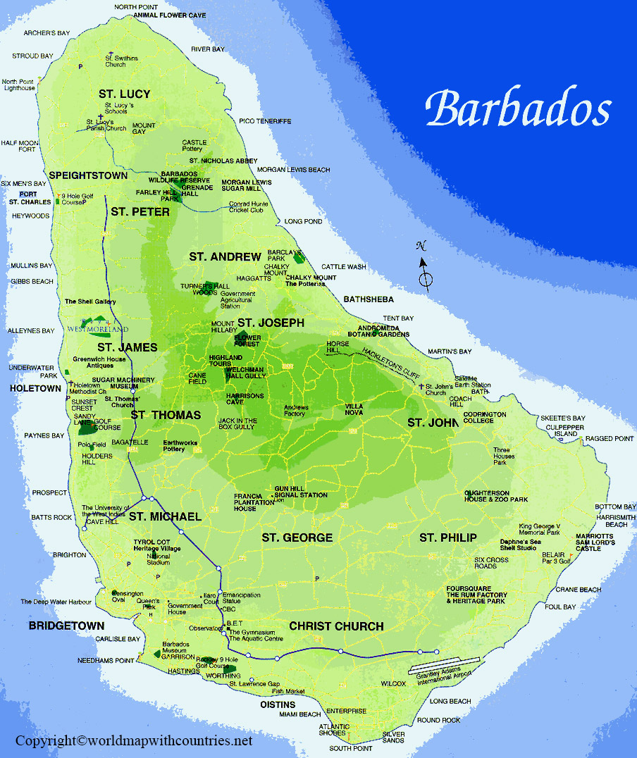 Labeled Map of Barbados