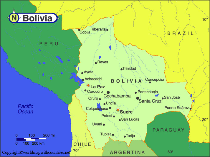 Labeled Map of Bolivia