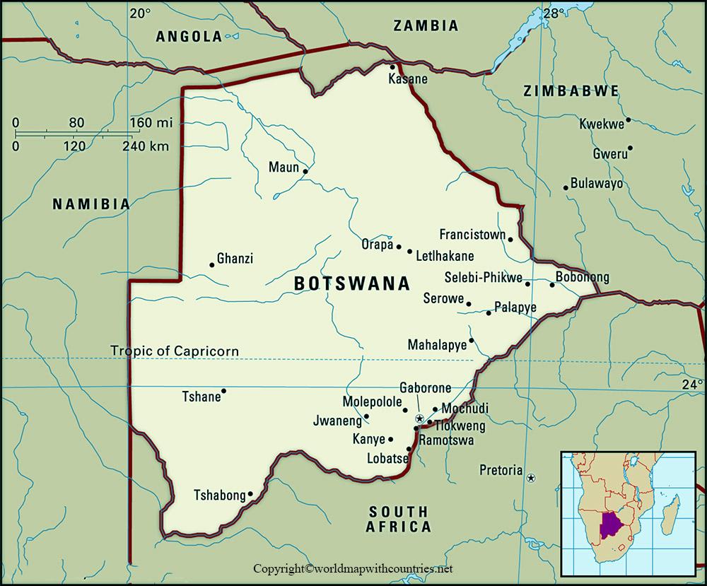 Labeled Map of Botswana