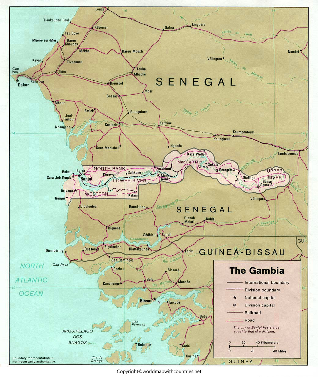 Labeled Map of Gambia