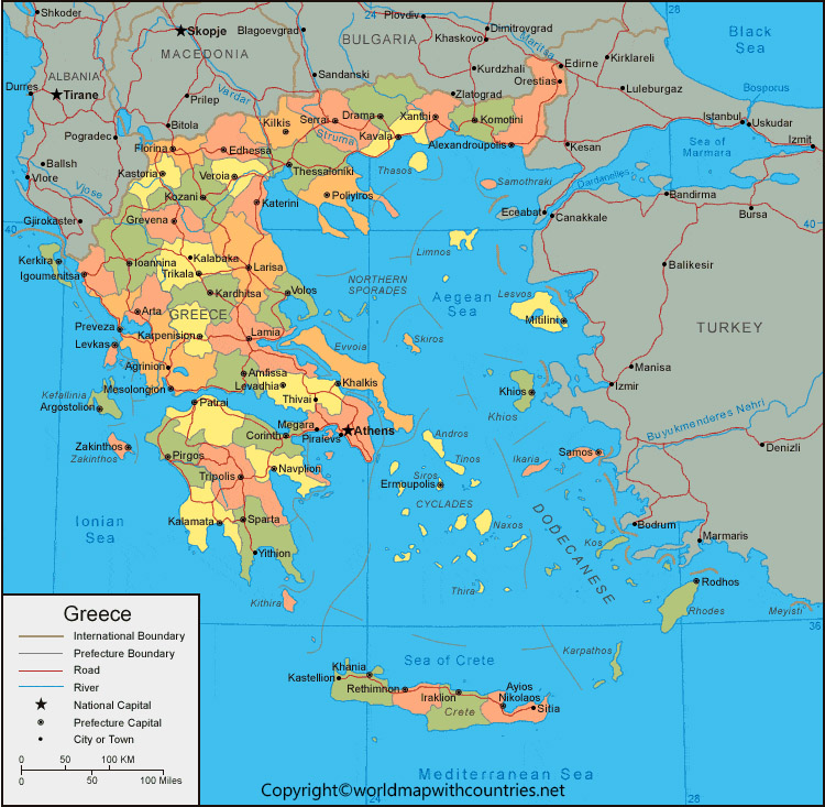 Labeled Map of Greece