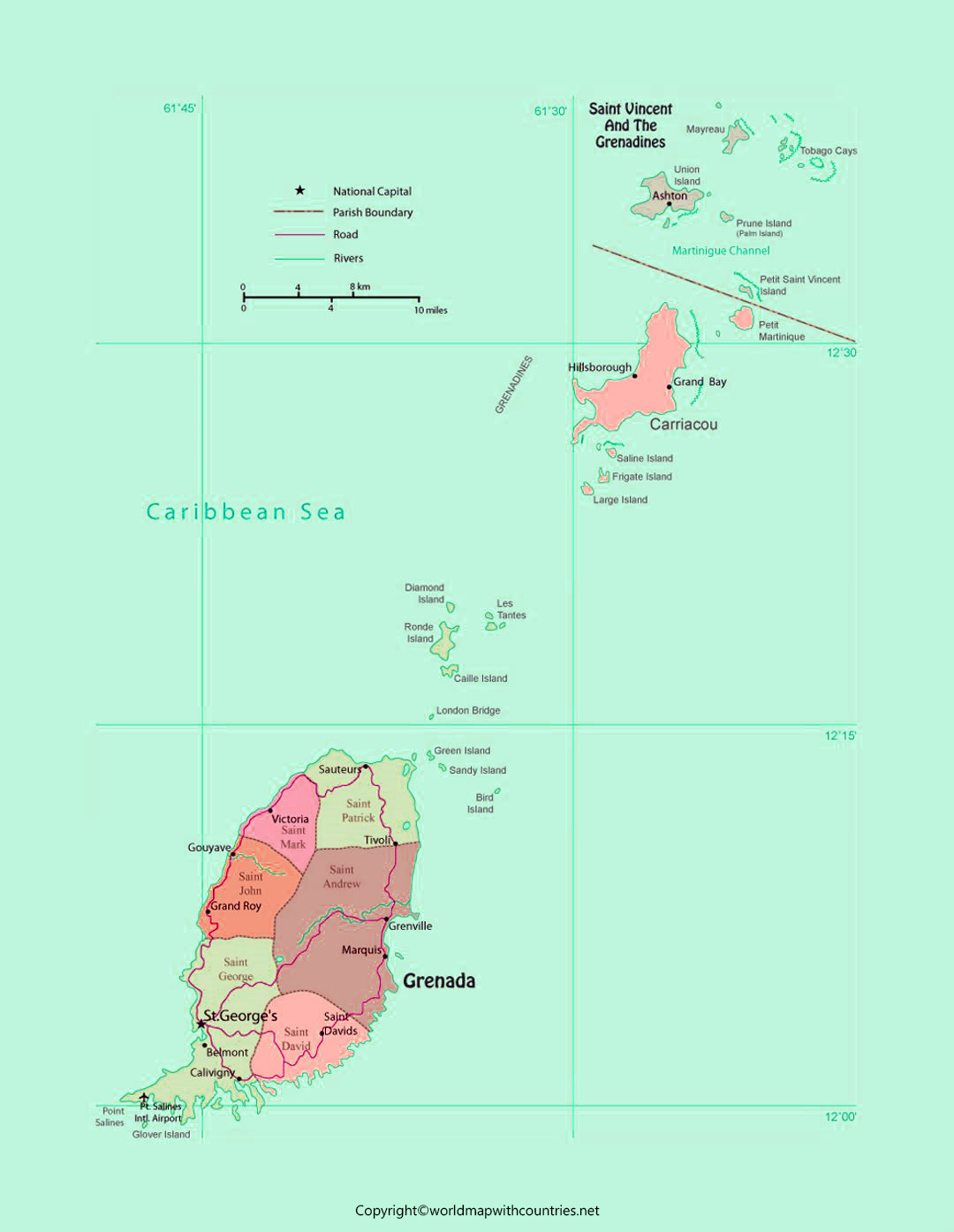Labeled Map of Grenada