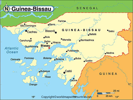 Labeled Map of Guinea Bissau