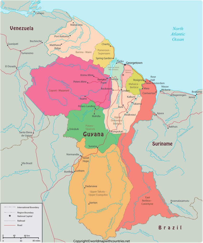 Labeled Map of Guyana