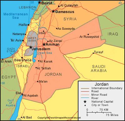 Labeled Map of Jordan