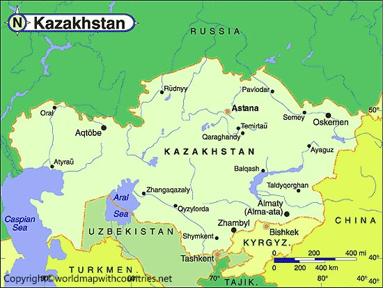 Labeled Map of Kazakhstan