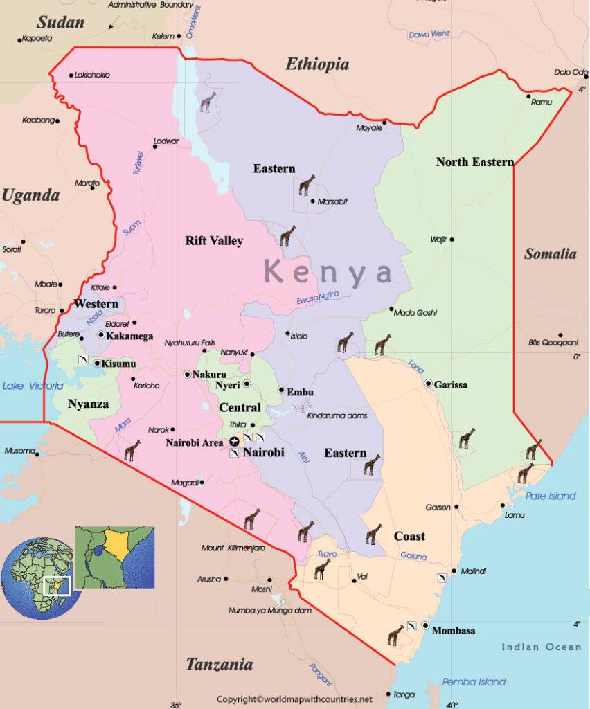 Labeled Map of Kenya