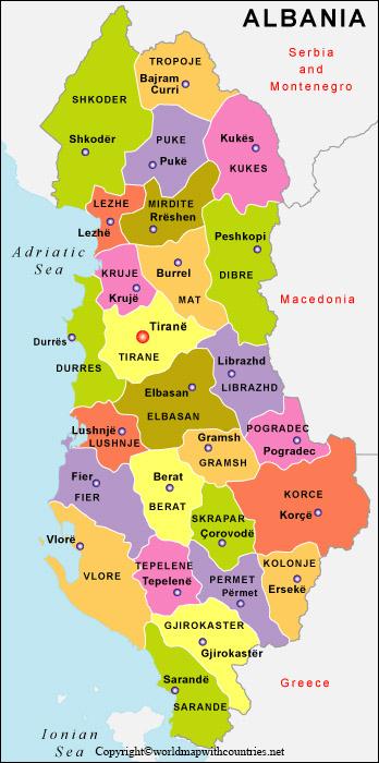 Printable Map of Albania