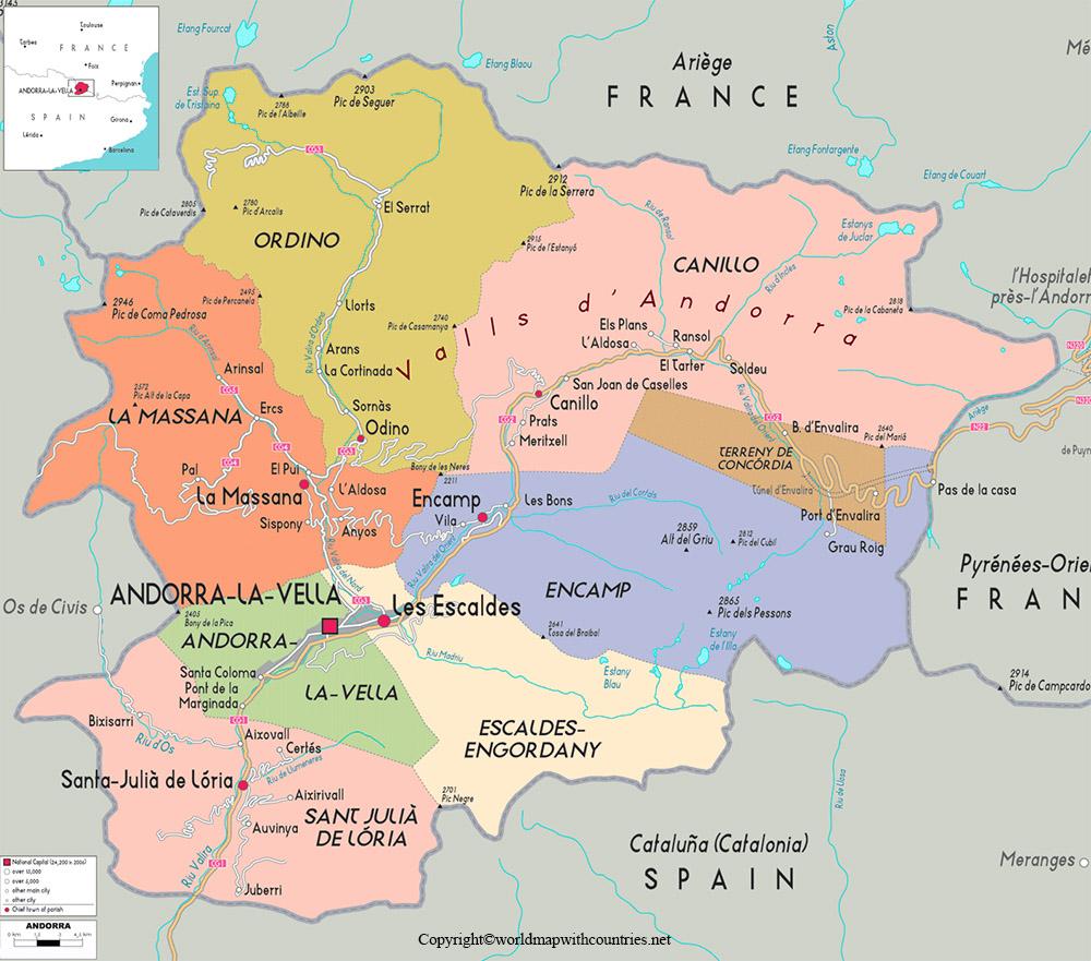 Printable Map of Andorra