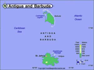 Printable Map of Antigua and Barbuda