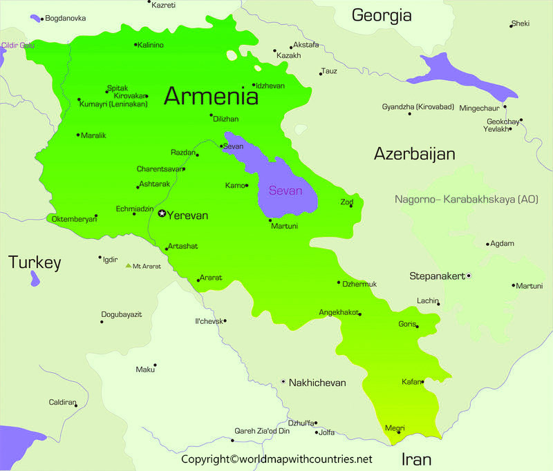 Printable Map of Armenia