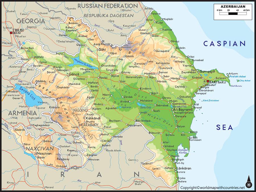 Printable Map of Azerbaijan