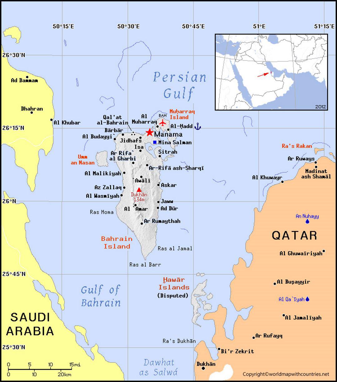 Printable Map of Bahrain
