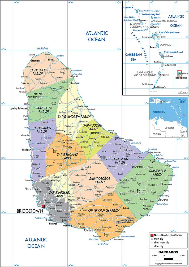 Printable Map of Barbados
