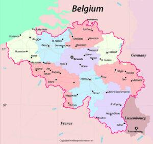 Printable Map of Belgium