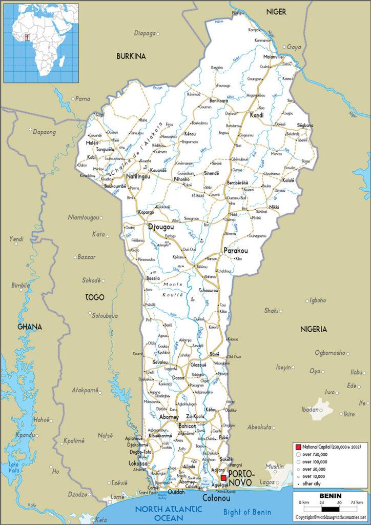 Printable Map of Benin