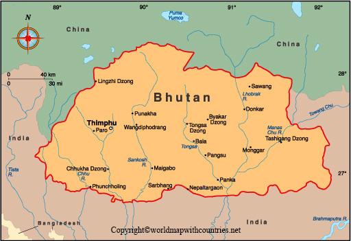 Printable Map of Bhutan