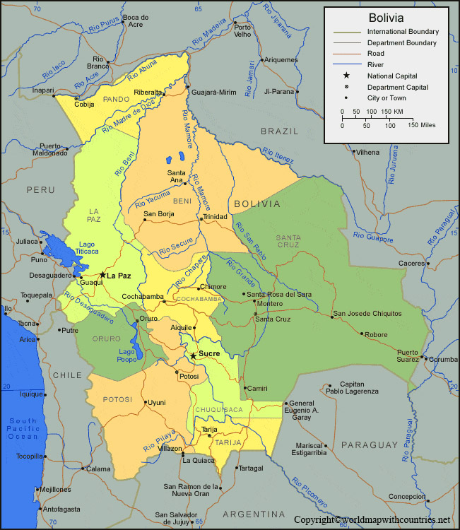 Printable Map of Bolivia