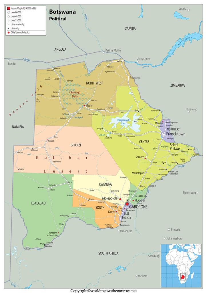 Printable Map of Botswana