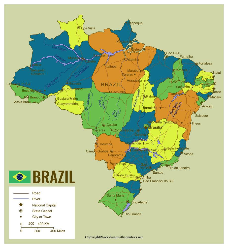 Printable Map Of Brazil